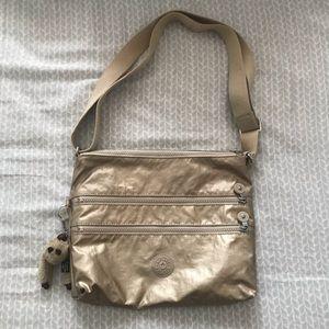 gold kipling messenger crossbody bag